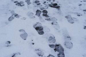 雪道 滑る 足跡